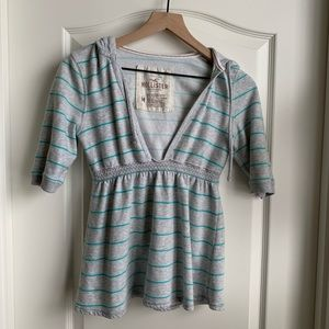 Hollister hooded top gray, teal stripes size Med